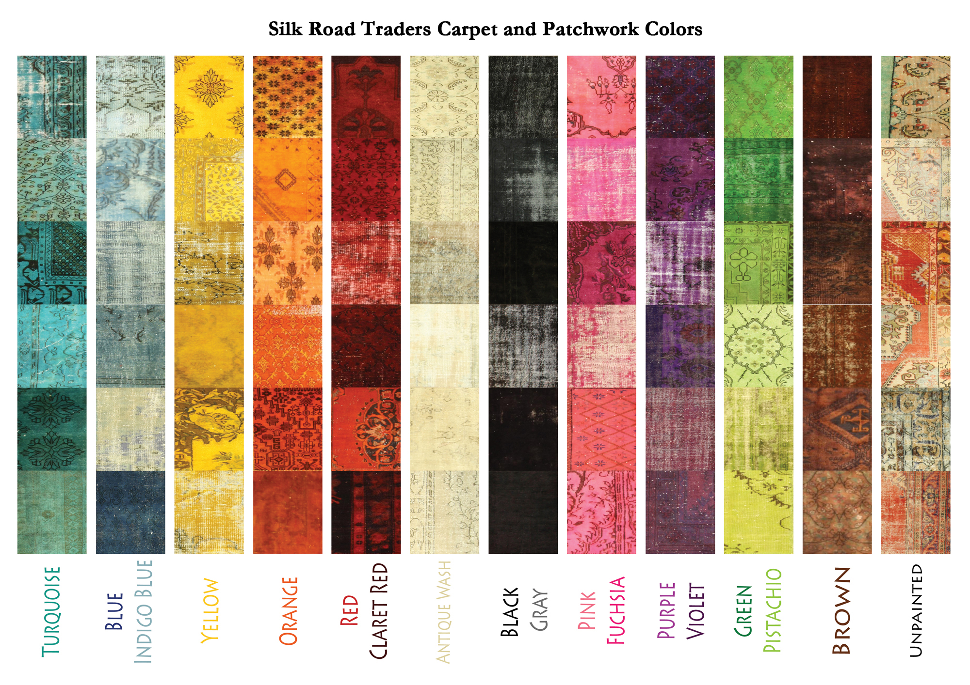 Patchwork over dye carpets link to carpet color chart geenschuldenfo Image collections